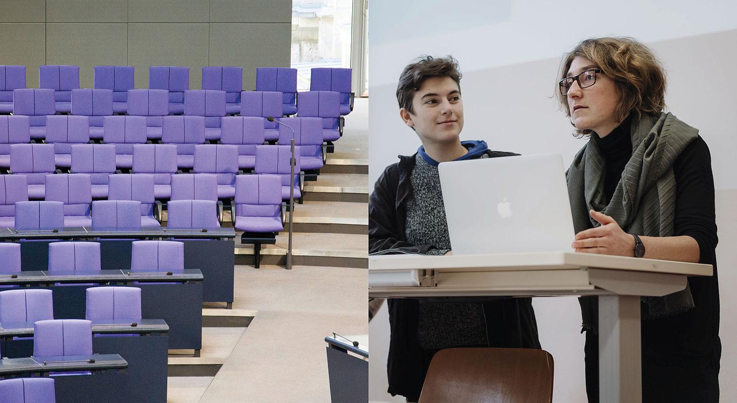 Bildcollage: Podium in Bundestag, Studierende bei einer Präsentation