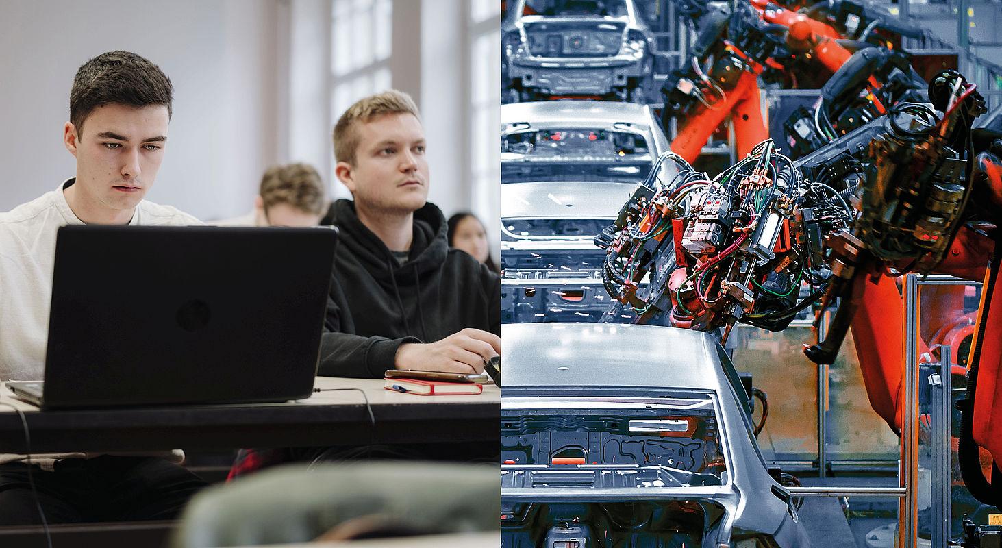 Bildcollage: Studenten, Autoproduktion